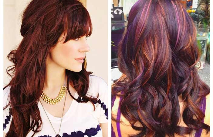 Cherry Cola Hair Color With Highlights