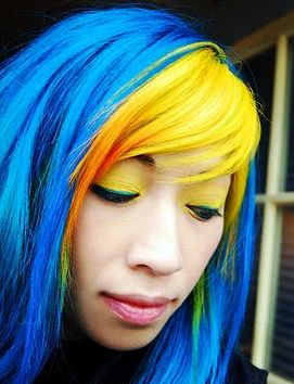 Hair Color Ideas - blue and yellow blend well