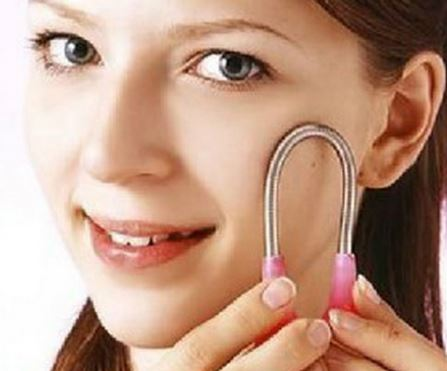 Use a facial spring to remove white hair on face.