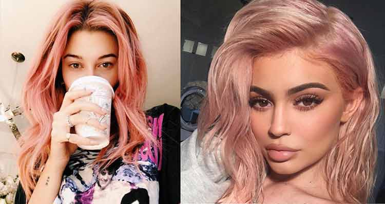 Hailey Baldwin and Kylie Jenner-rose gold hair Trends