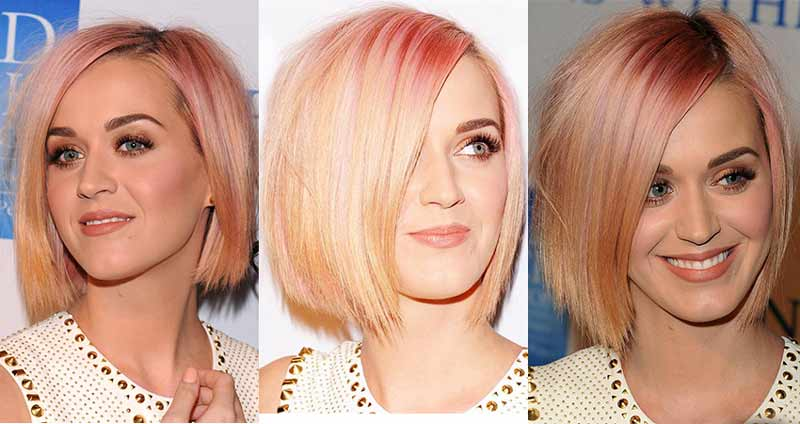 Katy Perry with rose gold hair pictures
