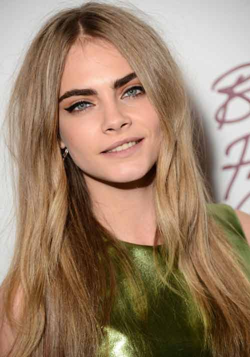 Cara Delevingne with 3-toned dirty blonde