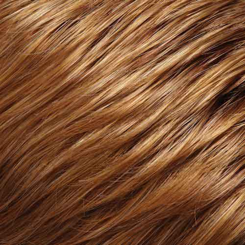 Dark brown hair with red and caramel highlights