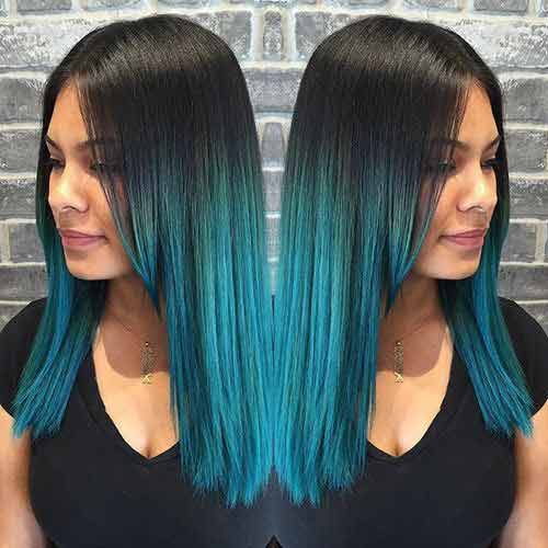 highlights ideas hair with turquoise blue ombre