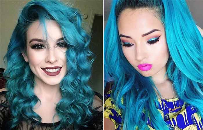 turquoise-hair color how it looks pictures