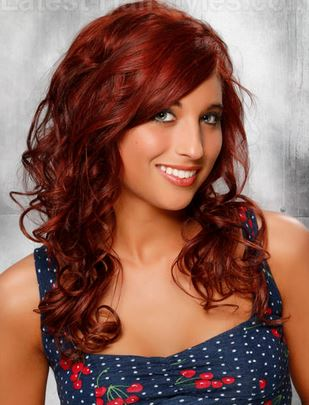 Cherry cola red on deep warm skin tone. Photo Credit - Latest-hairstyles